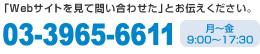 「Webサイトを見て問い合わせた」とお伝えください。03-3965-6611 月~金9:00~17:30